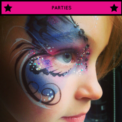 face paint, children, kids, london, hertfordshire, parties, entertainment, glitter, professional