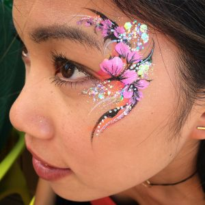 Glitter, flowers, floral, eye design, adult, facepaint, glamour, party, corporate,