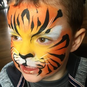 Cute, fierce, tiger, design, face paint, glitter, animal theme, party, birthday