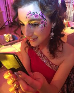 facepaint, eye design, glitter, glamour, adult, gems, sequins, cherry blossom, flowers, party, parties,